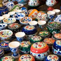 colourful Turkish small pots