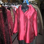 Red shiny shirt on mannequin