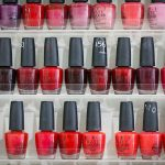 Red and pink nail polish bottles