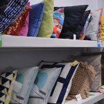 Pillows on shelves