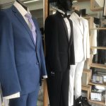 Mannequins wearing mens suits