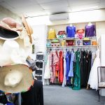 Costumes and hats in a clothing store