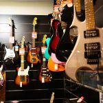 Electric guitars in music shop