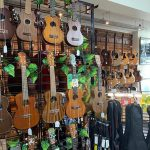 Ukuleles and guitars in music shop