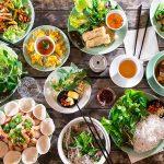 Vietnamese food aerial view