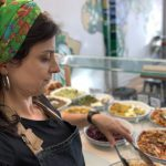 Lady serving food