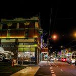 Pub exterior at night