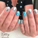 Painted nails in blue and silver