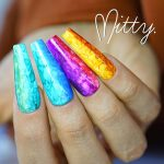 Brightly coloured fake nails