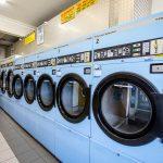 Laundrette interior with large washing machines