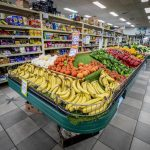 Interior of a supermarket fresh fruit and vegetables