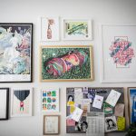Wall of artwork prints