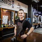 Barber shop man in apron