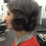 Female short pinned up hairstyle