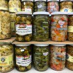 Jars of pickled foods