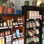 Deli items on shelves in cafe