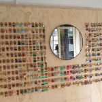 Wall of brightly coloured earrings