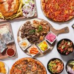 Aerial view of Middle Eastern Food
