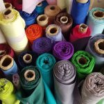 Bolts of coloured fabric
