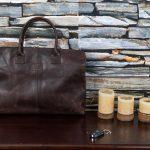 Leather briefcase satchel bag