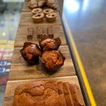 Sweets and pastries on breadboards
