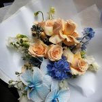 Blue and cream floral bouquet
