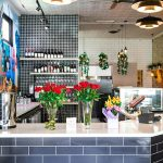 Restaurant front bar with flowers