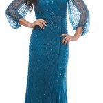 Lady posing in blue formal dress