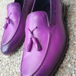Purple mens shoes with tassles