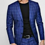 Bright blue checkered suit
