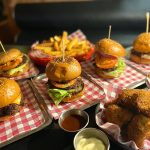 Mini burgers, chicken bits and fries