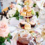 High tea setup of tea and cakes