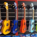 Rainbow coloured ukuleles