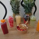 Juices and breakfast spread