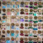 Rows of bright modern earrings