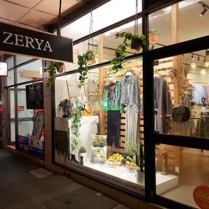 Clothing store window display